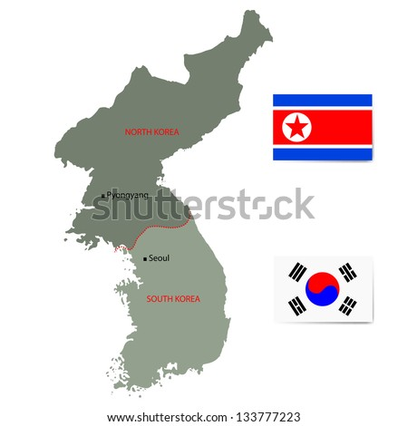 North and South Korea vector map with flags isolated on white background. - stock vector