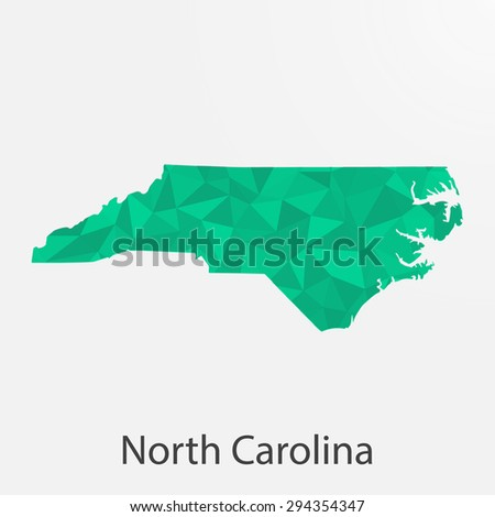North Carolina flag map in geometric,mosaic polygonal style.Abstract tessellation,background. Low poly vector illustration EPS10 - stock vector