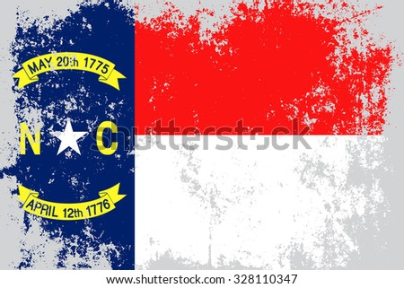 North Carolina grunge, old, scratched style state flag - stock vector