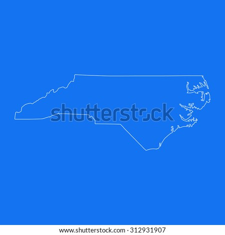 North Carolina outline map, stroke. Line style. White and blue. Vector EPS8 - stock vector