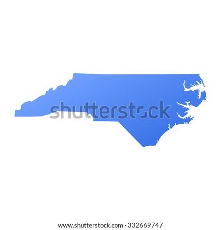 North Carolina state border,map - stock vector