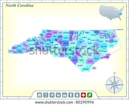 North Carolina State Map with Community Assistance and Activates Icons Original Illustration - stock vector