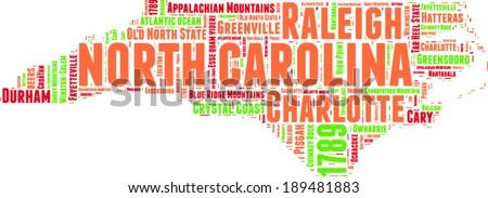 North Carolina USA state map vector tag cloud illustration - stock vector