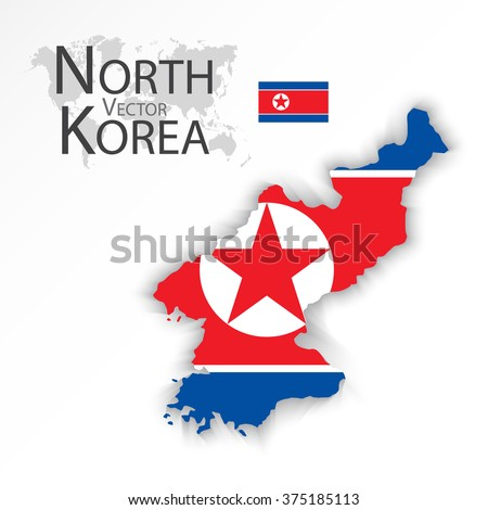 North Korea ( Democratic People 's Republic of Korea ) ( flag and map ) ( transportation and tourism concept ) - stock vector