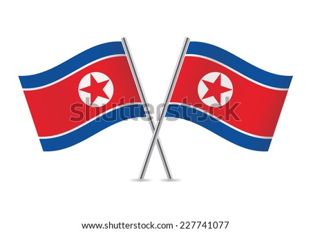 North Korea flags. Vector illustration. - stock vector