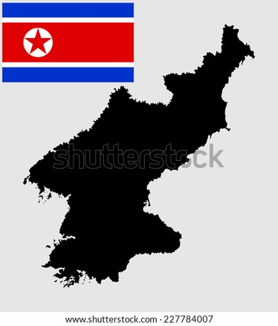 North Korea high detailed vector black silhouette isolated on white background. original and simple North Korea flag isolated vector in official colors and Proportion Correctly. - stock vector