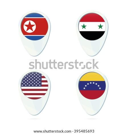 North Korea, Syria, USA, Venezuela flag location map pin icon. North Korea Flag, Syria Flag, USA Flag, Venezuela Flag. Vector Illustration. - stock vector