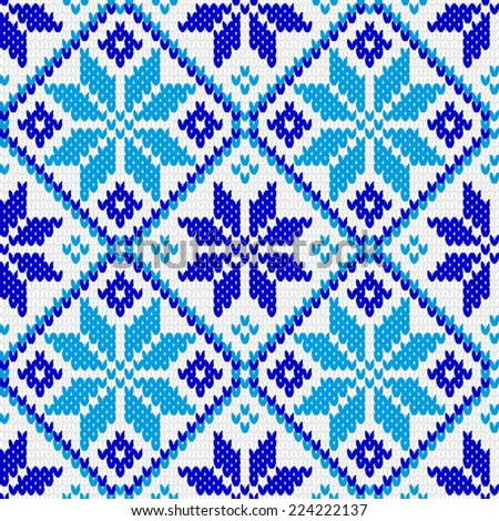 North Norwegian pattern ornament for warm clothes. Knitted related, seamless texture - stock vector