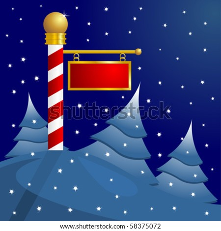 North Pole blank sign to insert your text - stock vector