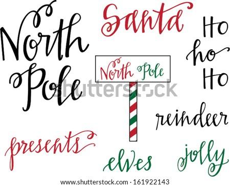 North Pole Christmas Set - stock vector