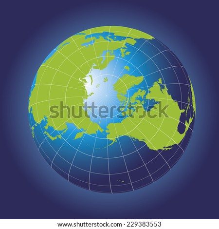 North Pole map. Europe, Greenland, Asia, America, Russia. Earth globe. Elements of this image furnished by NASA. Planet earth as seen from space - stock vector