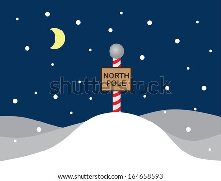 North pole snow scene with sign  - stock vector