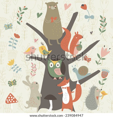 North wood animals in cartoon style. Cute bear, owl, birds, squirrel, fox, hare, snail and hedgehog. - stock vector