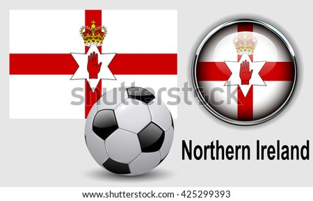 Northern Ireland flag icons with soccer ball, vector design. - stock vector