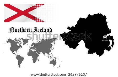 Northern Ireland info graphic with flag , location in world map, Map and the capital ,Belfast, location.(EPS10 Separate part by part) - stock vector