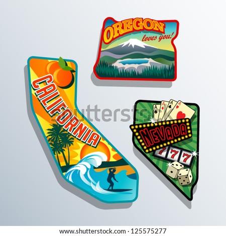 Northwest United states retro stickers - stock vector