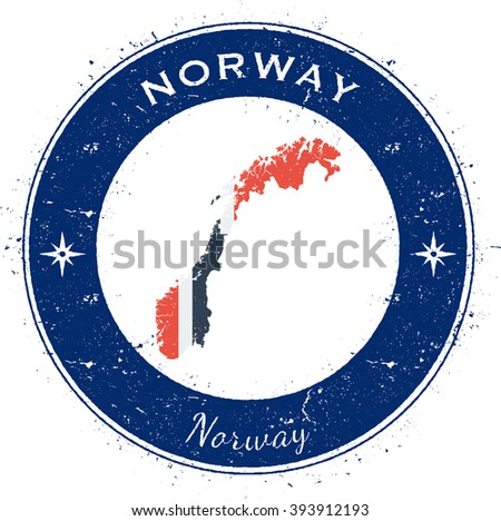 Norway. Grunge rubber stamp with country flag, map and the Norway written along circle border, vector illustration. - stock vector