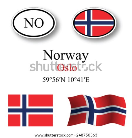 norway icons set against white background, abstract vector art illustration, image contains transparency - stock vector