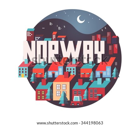 Norway in europe is a beautiful country to visit. vintage vector illustration. - stock vector