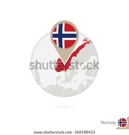 Norway map and flag in circle. Map of Norway, Norway flag pin. Map of Norway in the style of the globe. Vector Illustration. - stock vector