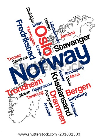 Norway map and words cloud with larger cities - stock vector