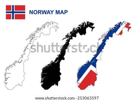 Norway map vector, Norway flag vector - stock vector