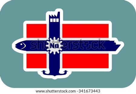 Norway national banner and industrial icons collage. Ship, fish, factory, anchor icons on the end of flag stripes - stock vector