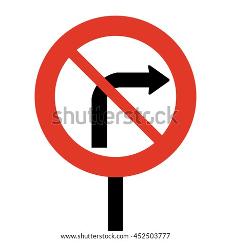 Norway No Right Turn Road Sign - stock vector
