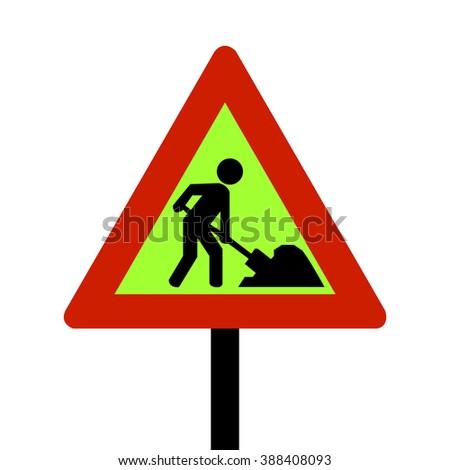 Norway Roadworks Sign - stock vector