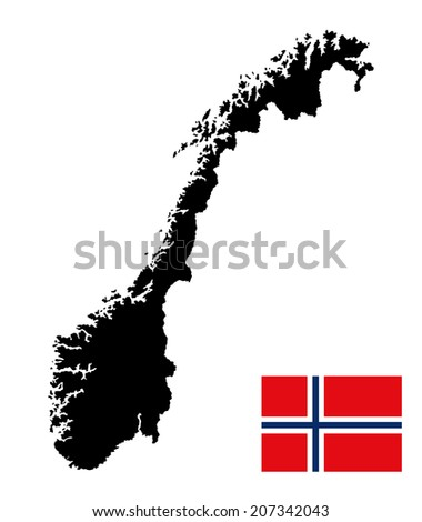 Norway vector map and vector flag isolated on white background silhouette. High detailed illustration.  - stock vector