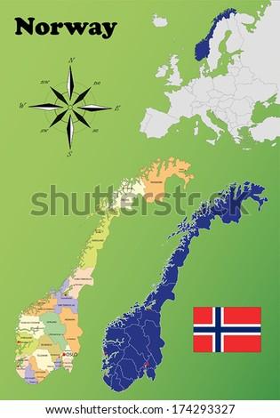 Norway vector set. Isolated. - stock vector