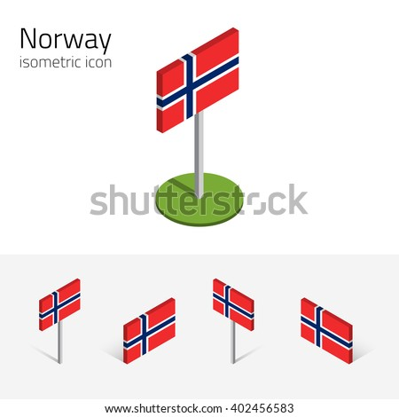 Norwegian flag (Kingdom of Norway), vector set of isometric flat icons, 3D style, different views. Full editable design elements for banner, website, presentation, infographic, poster, map. Eps 10 - stock vector