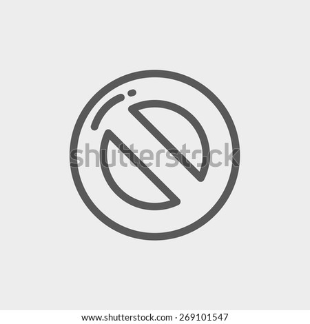 Not allowed icon thin line for web and mobile, modern minimalistic flat design. Vector dark grey icon on light grey background. - stock vector