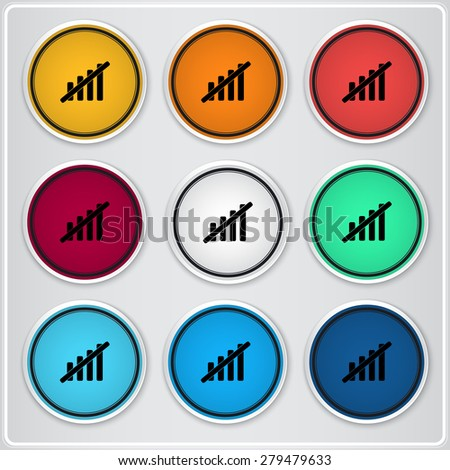 Not Signal strength indicators. Flat design style. Made vector illustration. Emblem or label with shadow. - stock vector