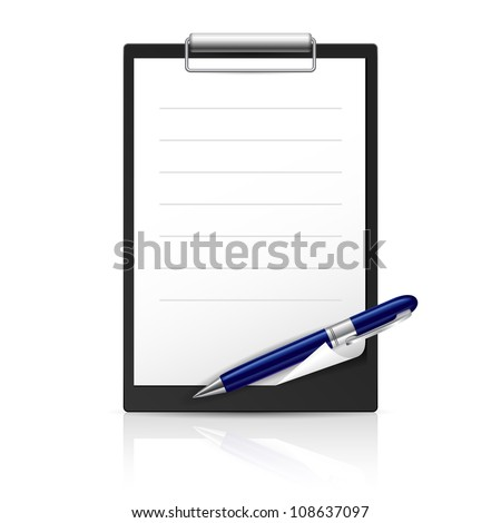 Note and Pen icons for Web Design. Illustration on white - stock vector