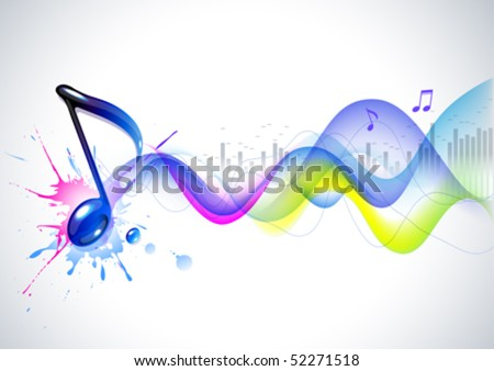 Note and sound waves. Music background. - stock vector