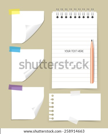 Note book and note papers with pencil, Business working elements for web design , mobile applications, social networks. - stock vector