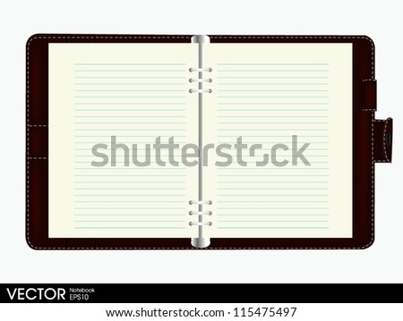 note book blank page - stock vector