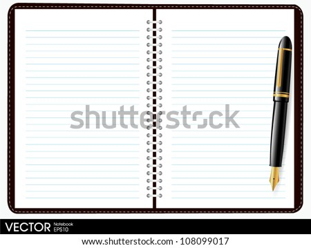 note book paper with pen - stock vector