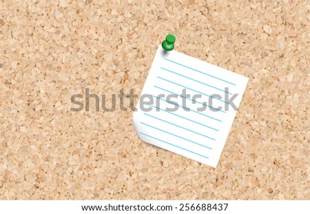 Note pad and push pin isolated on cork board ready for your text.,Vector - stock vector