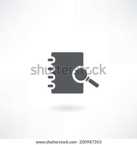 note pad with a magnifying glass icon - stock vector