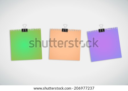 note paper and clip isolated on white background - stock vector