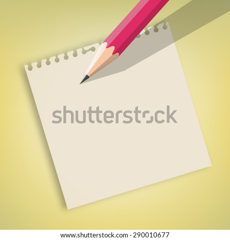 Note paper and pink pencil vector - stock vector