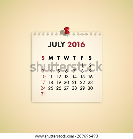 Note Paper Calendar Vector July 2016 - stock vector
