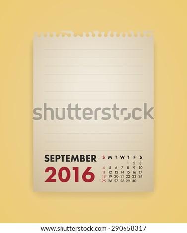 Note Paper Calendar Vector September 2016 - stock vector