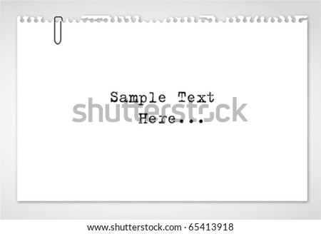 Note paper,sketch paper with paper clip on white isolated - stock vector