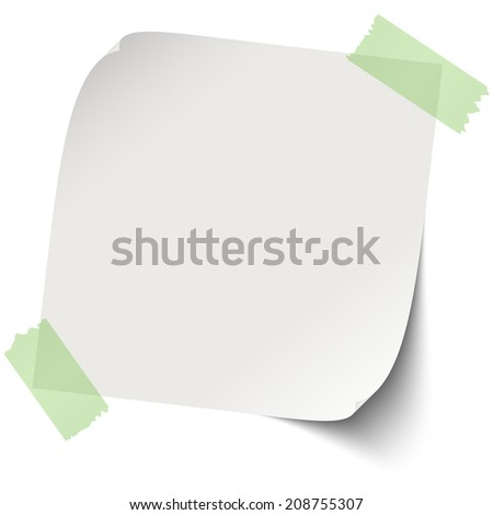 Note / paper with adhesive strip - stock vector