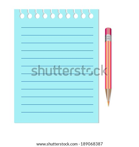 Note Paper with red pencil - stock vector