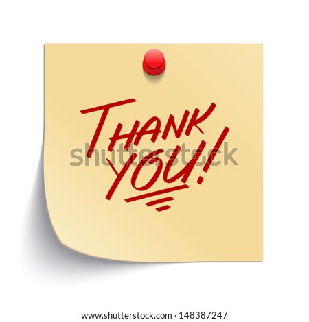 Note paper with thank you message and push pin vector illustration. Eps 10.  - stock vector