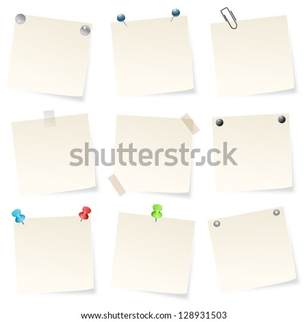 note papers on white background - stock vector